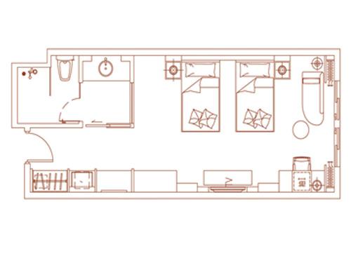 店豪华双床房平面图